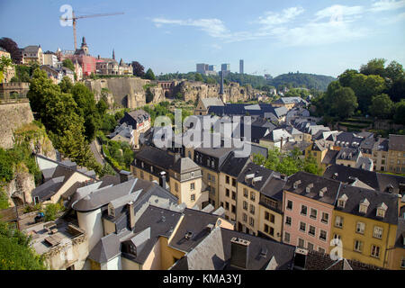 View from the old town wall to church St. Johannes, behind the europe district on Kirchberg, Luxembourg-city, Luxembourg, - Stock Photo