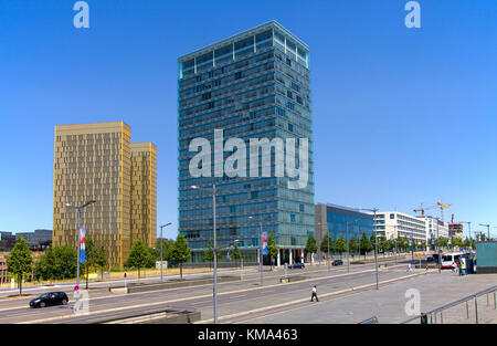 Office skyscraper and Twin tower of the european Court, Avenue John F. Kennedy, Kirchberg, Luxembourg-city, Luxembourg, - Stock Photo