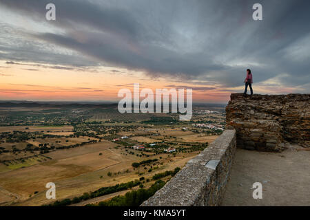 The medieval village of Monsaraz is a tourist attraction in the Alentejo, Portugal. From the walls of his castle - Stock Photo