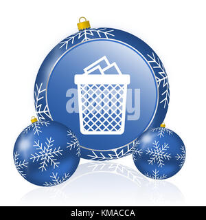 Trash can blue christmas balls icon - Stock Photo