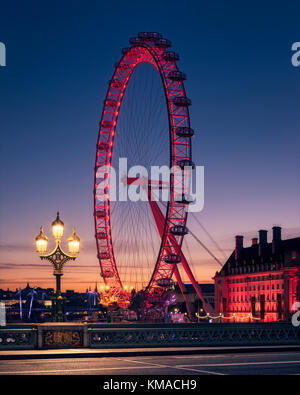 London Eye and Westminster Bridge at Sunrise - Stock Photo