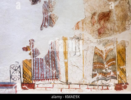 Remains of a fresco in the museum at Mycenae, Mikines, Peloponnese, Greece - Stock Photo
