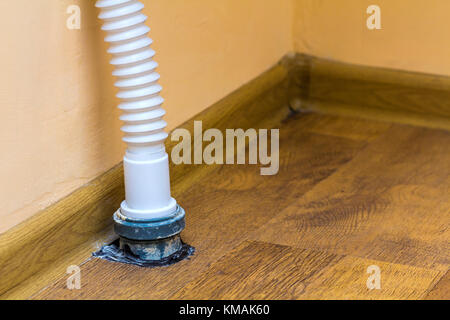 Drain Pipes Under A Kitchen Sink With Dishwasher