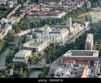 aerial view of The Deutsches Museum, Munich, Bavaria, Germany - Stock Photo