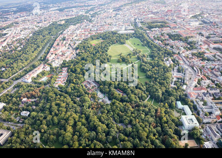 aerial view of the English Garden, Munich, Bavaria, Germany - Stock Photo