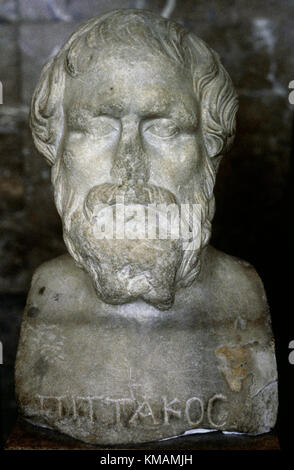 Pittacus of Mytilene (640-568 BC). Ancient Mytilenaen military general and one of the Seven Sages of Greece. Marble - Stock Photo