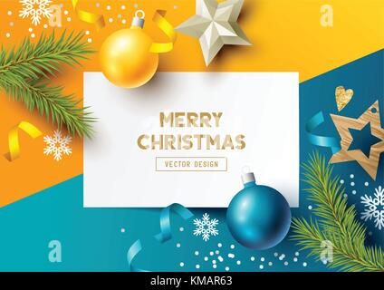 Merry Christmas Composition with fir branches, christmas baubles and snowflakes on a colorful abstract background. - Stock Photo