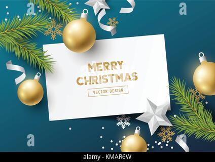 Festive Christmas Composition with fir branches, christmas baubles and snowflakes on a colorful abstract background. - Stock Photo