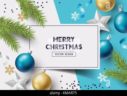 Christmas Composition with fir branches, christmas baubles and snowflakes on a colorful abstract background. Top - Stock Photo