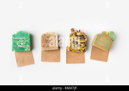 handcrafted soap on kraft papers - Stock Photo