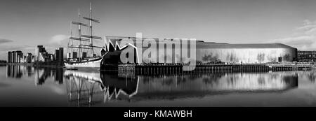 A view of the River Clyde, which includes the Tall Ship and the Riverside Museum. - Stock Photo