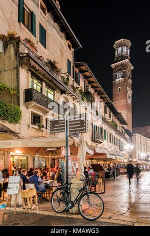 Night view of Piazza delle Erbe or Market's Square, Verona, Veneto, Italy - Stock Photo