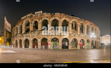 Night view of Verona Arena, Verona, Veneto, Italy - Stock Photo