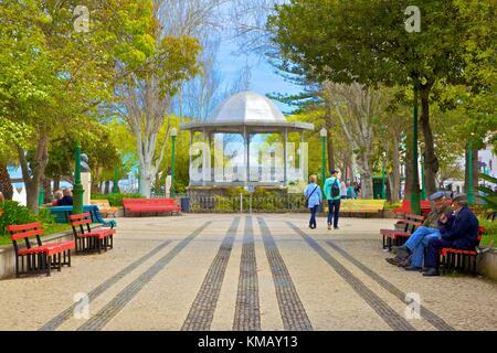 Garden and Bandstand, Tavira, Eastern Algarve, Algarve, Portugal, Europe - Stock Photo