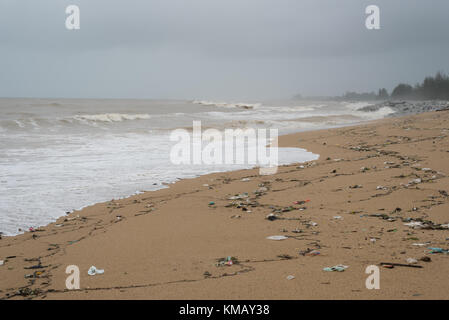 polluted beach. garbage and waste at beach - Stock Photo
