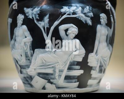London England The Portland Vase Depicting Mythological Scenes Of