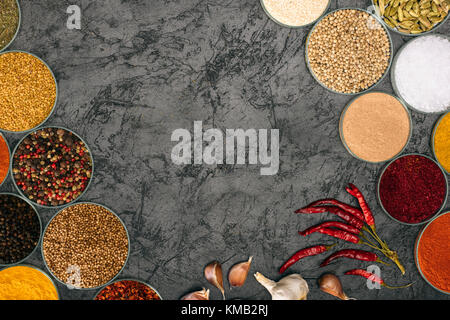 spices in bowls with chili peppers and garlic - Stock Photo