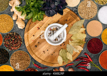Mortar and pestle for grinding pepper - Stock Photo