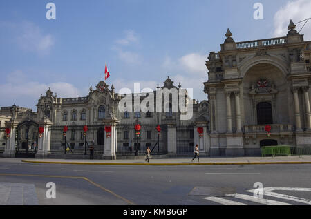 Lima, Peru - December 30, 2014:  The Government Palace known as House of Pizarro, at Plaza de Armas in Lima, Peru - Stock Photo