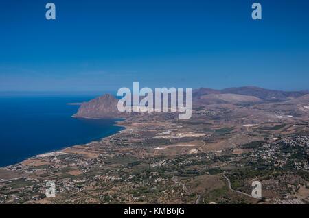 view of Cofano mount and the Tyrrhenian coastline from Erice, Sicily, Italy - Stock Photo