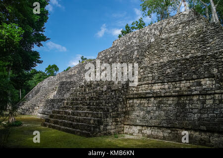 Sight of the Mayan pyramid in ruins in the archaeological Balamku enclosure in the reservation of the biosphere - Stock Photo