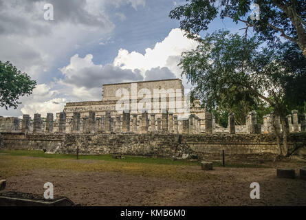 Group of a Thousand Columns and Temple of the Warriors, Chichen-Itza, Mexico - Stock Photo