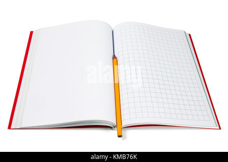 Blank and square notebook whit a yellow pencil and red cover isolated  on a white background - Stock Photo