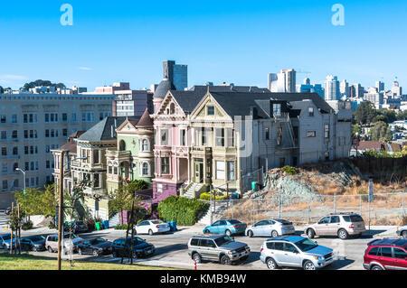 San Francisco,California,USA - June 16, 2017 : Victorian houses in Alamo Square - Stock Photo