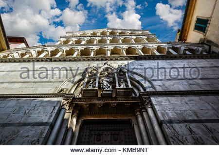 The facade of the church and monastery of San Michele in Borgo in Pisa Italy - Stock Photo