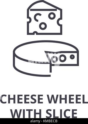 cheese wheel with slice line icon, outline sign, linear symbol, vector, flat illustration - Stock Photo