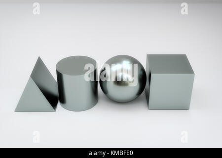 3d rendering of geometry blocks on the ground - Stock Photo