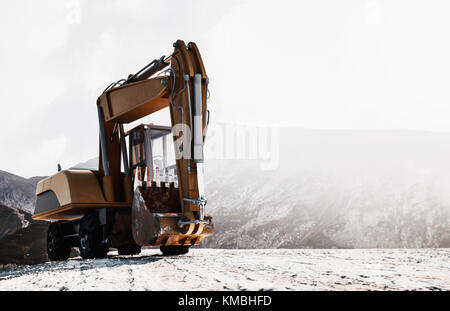Front view of the bucket on a large heavy duty excavator parked on a mountain top against a bright cloudy sky with - Stock Photo