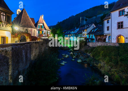 Dawn, Oberhof chapel and half-timbered houses on the river Weiss, Kaysersberg, Alsatian wine route, Alsace, Haut - Stock Photo