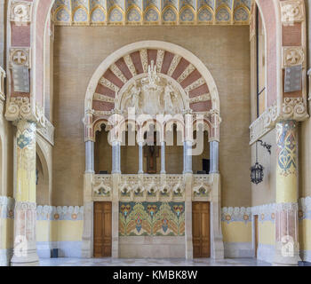 Interior view of the hall in the main building of the Hospital de la Santa Creu i Sant Pau by the architect Lluís - Stock Photo