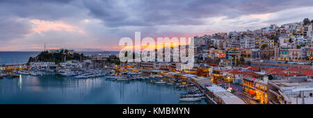 Evening in Mikrolimano marina in Athens, Greece. - Stock Photo