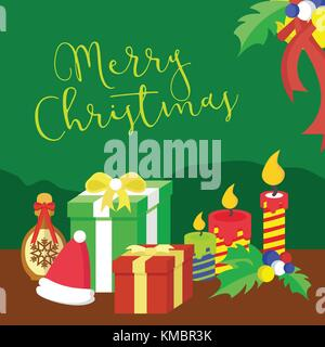 Merry Christmas Gifts Vector Graphic Illustration Design - Stock Photo