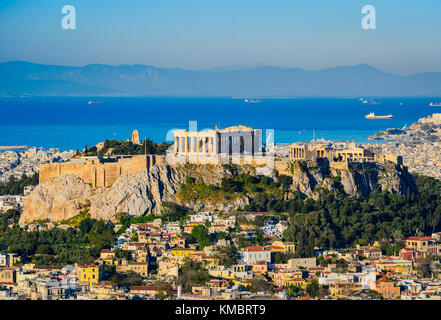 The Acropolis with the Parthenon in Athens, Greece - Stock Photo