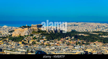 Athens, the capital city of Greece, with view on the Acropolis - Stock Photo