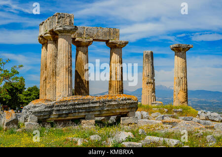 The ruins of the Apollo Temple in ancient Corinth, Greece - Stock Photo