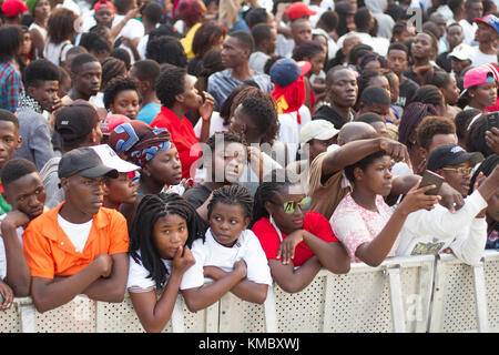 African Ethnicity crowd waiting for show in Luanda, Angola - Stock Photo