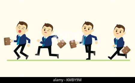 Business man in run action on green ground vector illustration - Stock Photo