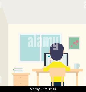 Young man work in his room with laptop and cup on table vector illustration. - Stock Photo