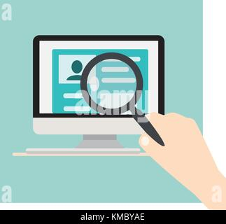 Searching people concept.Computer on a desk and a hand holding magnifying glass over searching person on screen - Stock Photo