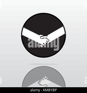Shaking hands logo simple design vector illustration, symbol of deal, happy trade, greeting shake, casual handshaking - Stock Photo