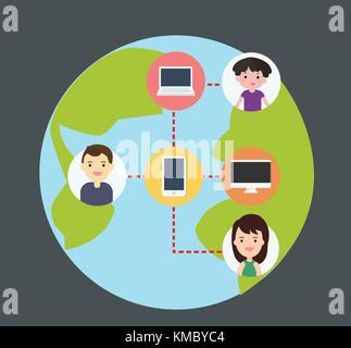 Concept of connecting people with technology, Wireless connect people around the world, flat design cartoon characters - Stock Photo