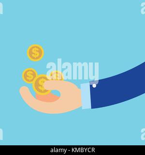 Flat business Hand getting coins in green circle vector illustration.Business get money concept - Stock Photo