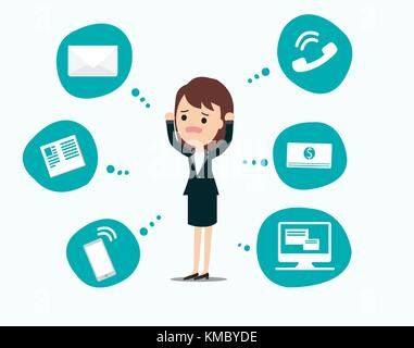 Businesswoman stress pressure, business mental issues, concept vector icons with pictogram computer,money,news,telephone - Stock Photo
