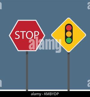 Stop and traffic signs vector illustration - Stock Photo