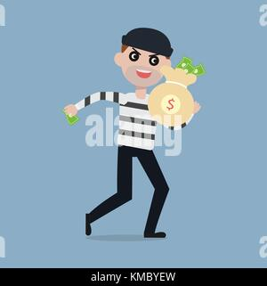 Burglar running away with bag of money,Thief cartoon character steal money concept vector illustration - Stock Photo