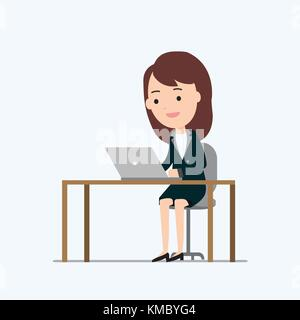 Business woman working on laptop and table with isolated white background vector and illustration.Business work - Stock Photo
